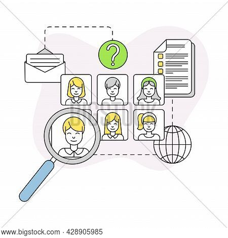Business And Start-up Development With Employee Search And Corporate Correspondence Vector Line Comp