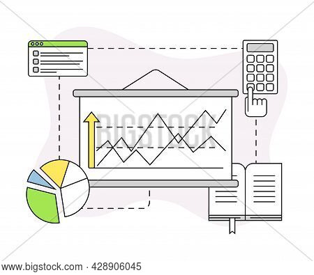 Business And Start-up Development With Profit Chart And Calculator Vector Line Composition