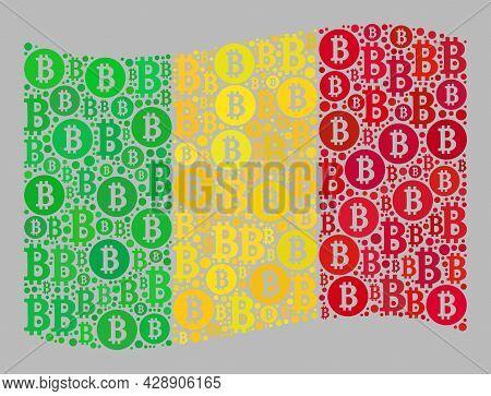 Mosaic Bitcoin Waving Mali Flag Designed Of Bitcoin Items. Vector Collage Windy Mali Flag Organized