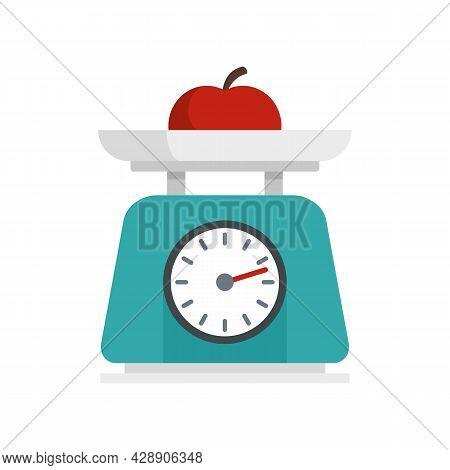 Fruit On Kitchen Scales Icon. Flat Illustration Of Fruit On Kitchen Scales Vector Icon Isolated On W