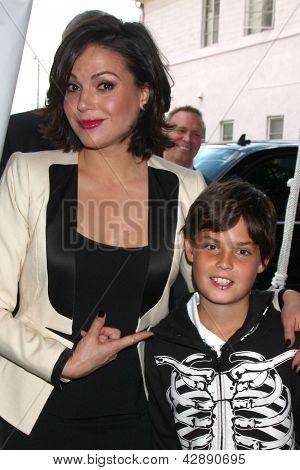 LOS ANGELES - MAR 3:  Lana Parrilla, nephew Sam Ripley arrives at the