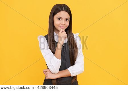 Motivated Pupil. Model Pupil Yellow Background. Formal Education. Back To School