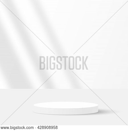 Background Vector 3d White Rendering With Podium And Minimal White Wall Scene, Minimal Abstract Back