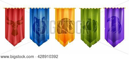 Medieval Flag Game Vector Icon Set, Battle Royal Pennant Kit, Knight Old Banner, Wolf, Deer, Horse.