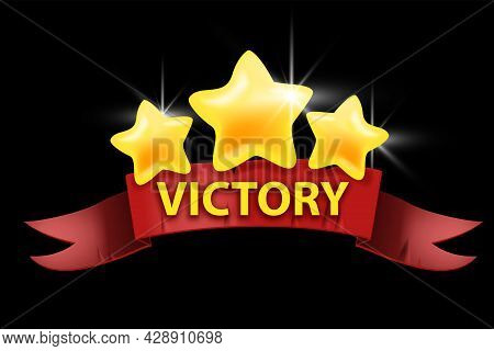 Victory Game Ui Design Element, Vector Winner Cartoon Icon, Level Up Sign Badge, Red Ribbon, Gold St