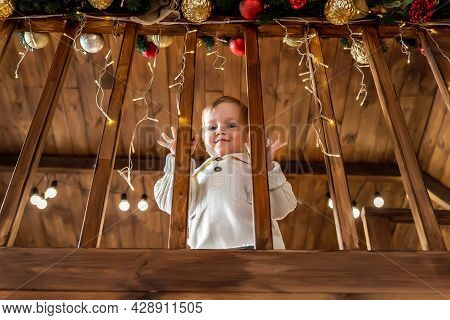 Portrait Cute Little Blond Toddler Boy Stand Looking At House Wooden Staricase Handrails Railings De