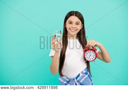 Hydration Vitality. Drinking Per Day. Be Hydrated. Kid Hold Glass And Clock. Child Feel Thirsty.