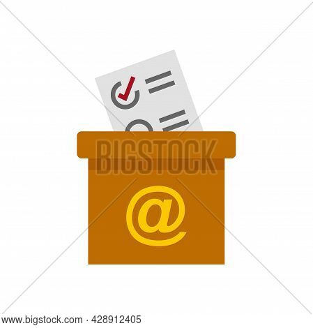Survey Carton Box Icon. Flat Illustration Of Survey Carton Box Vector Icon Isolated On White Backgro