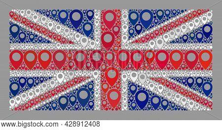 Mosaic Navigation United Kingdom Flag Designed Of Map Marker Elements. Vector Collage Straight Unite