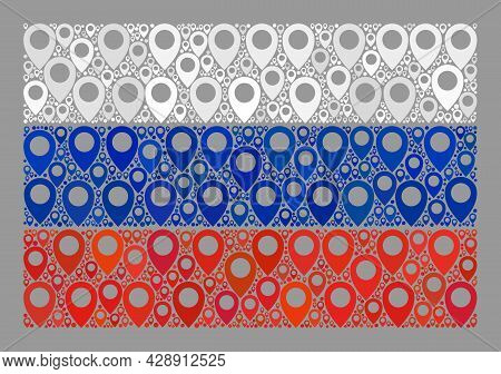 Mosaic Pointer Russia Flag Constructed Of Navigate Icons. Vector Collage Straight Russia Flag Constr