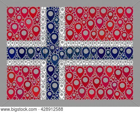 Mosaic Navigation Norway Flag Created With Geotargeting Icons. Vector Mosaic Rectangle Norway Flag C