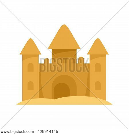 Castle Made Of Sand Icon. Flat Illustration Of Castle Made Of Sand Vector Icon Isolated On White Bac