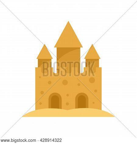 Fantasy Castle Sand Icon. Flat Illustration Of Fantasy Castle Sand Vector Icon Isolated On White Bac