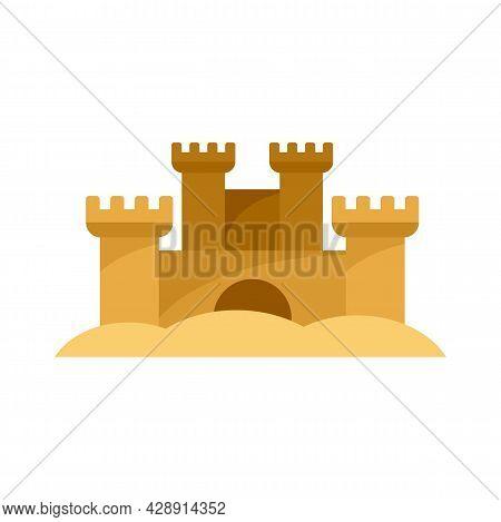 Sand Sculpture Castle Icon. Flat Illustration Of Sand Sculpture Castle Vector Icon Isolated On White