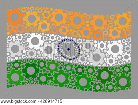 Mosaic Waving India Flag Designed Of Mechanical Items. Vector Gear Collage Waving India Flag Designe
