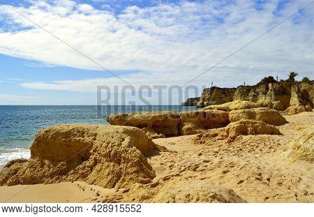 Armacao De Pera Beach Rock Formation On The Algarve Coast Of Portugal