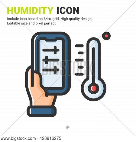 Humidity Icon Vector With Outline Color Style Isolated On White Background. Vector Illustration Damp