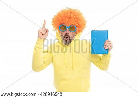 Inspired Man With Geek Look Got Crazy Idea Keeping Finger Raised Holding School Book, Inspiration