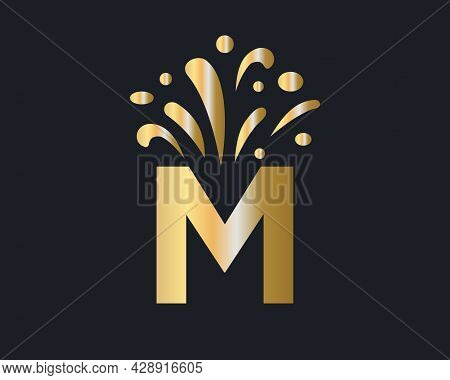 M Letter Logo With Luxury Concept. Elegant M Logo Luxury And Celebration Concept.