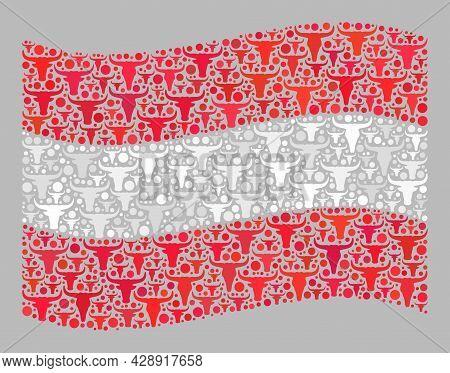 Mosaic Cattle Waving Austria Flag Designed Of Bull Items. Vector Mosaic Waving Austria Flag Done For
