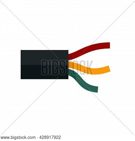Electric Wire Cable Icon. Flat Illustration Of Electric Wire Cable Vector Icon Isolated On White Bac