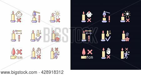 Candle Safety Precautions Light And Dark Theme Rgb Color Manual Label Icons Set. Isolated Vector Ill