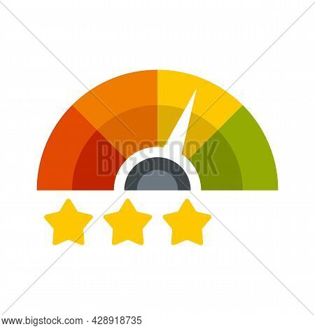 Star Rating Credit Score Icon. Flat Illustration Of Star Rating Credit Score Vector Icon Isolated On