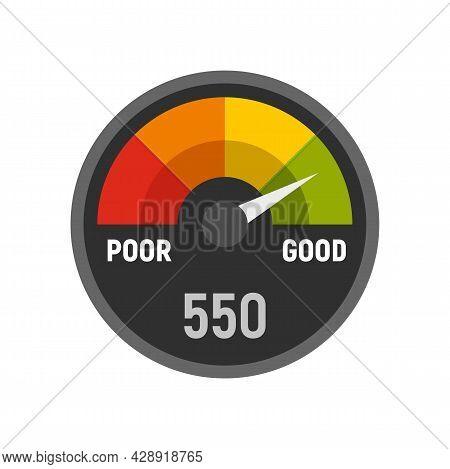Power Credit Score Icon. Flat Illustration Of Power Credit Score Vector Icon Isolated On White Backg