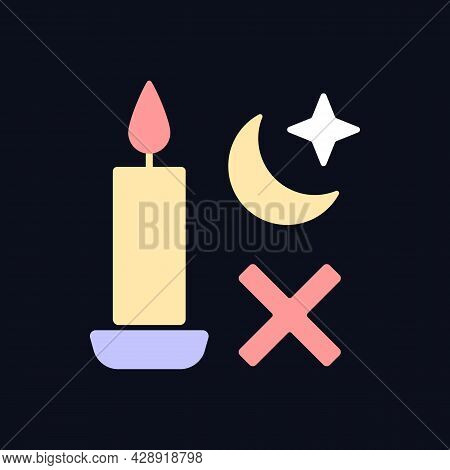 Never Use Candle While Sleeping Rgb Color Manual Label Icon For Dark Theme. Isolated Vector Illustra
