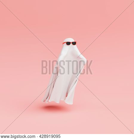 Ghost With Red Sunglasses, White Blanket And Outstretched Arms On Minimalistic Pastel Background. Ha