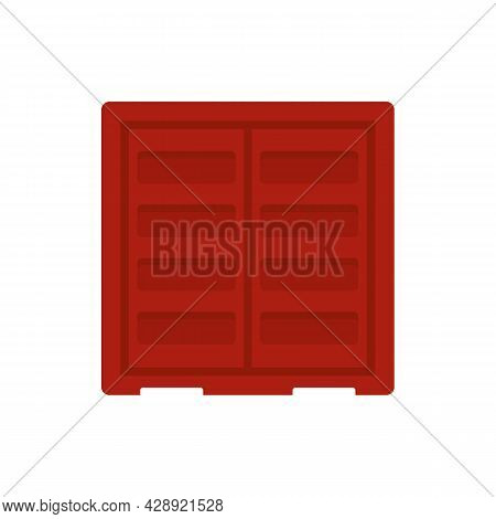 Shipping Cargo Container Icon. Flat Illustration Of Shipping Cargo Container Vector Icon Isolated On