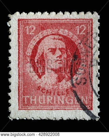 ZAGREB, CROATIA - SEPTEMBER 05, 2014: Stamp printed in Germany, Soviet Occupation of Thuringia, that shows Friedrich von Schiller, poet and writer, circa 1945