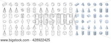 Set Of 3d Basic Geometric Shapes. Isometric View. Objects For School, Geometry And Mathematics. Isol