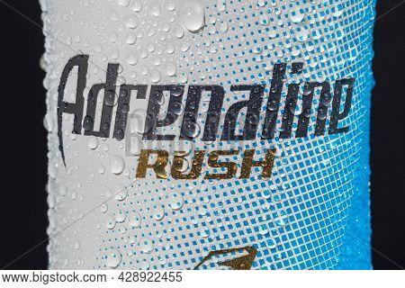 Tyumen, Russia-may 25, 2021: Energy Drink Adrenaline Rush Zero Sugar. Brand Adrenaline Rush Is A Com