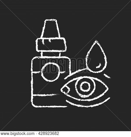 Eye Drops Chalk White Icon On Dark Background. Relieving Dryness And Redness. Eye Problems Treatment