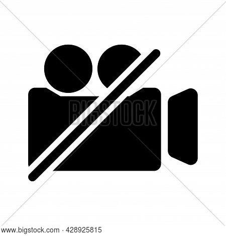 Video Camera Glyph Icon. Film Camera Off, Round Symbol. Forbidden Record. Internet Button For Webina