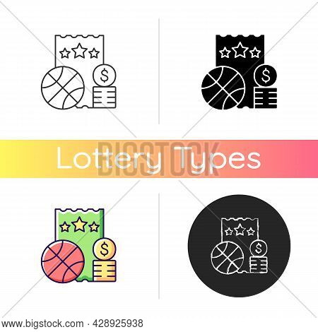 Sports Lottery Icon. Making Stakes On Sporting Event Outcome. Sports Betting. Predicting Results And