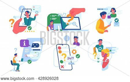 Customer Support Service. Call Center Workers, Round-the-clock Online Assistant, Chatbot Aide, Consu