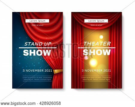 Stage Curtain Cards. Comedy And Theatre Show Playbills With Realistic Red Veils Frames, Art Performa