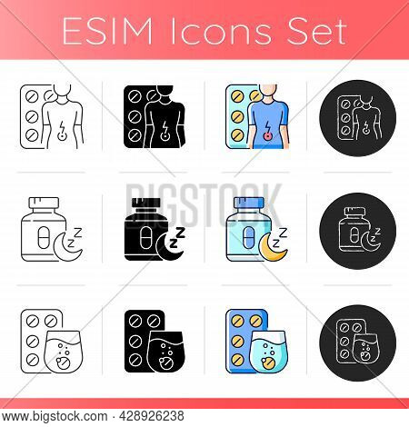 Maintaining Life Quality Icons Set. Relieve Flu Symptoms. Digestive Wellbeing. Sleep Medication. Eff