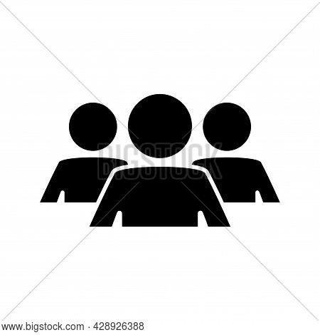 Group Of People. Black Round Flat Icon Of Group Of People, Team, Collaboration. A Glyph Symbol In Yo