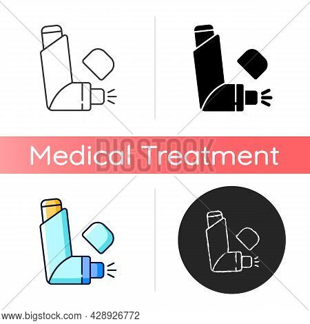 Inhaler Icon. Allergy Spray. Preventing Asthma Attacks. Deliver Medication To Lungs, Airways. Portab
