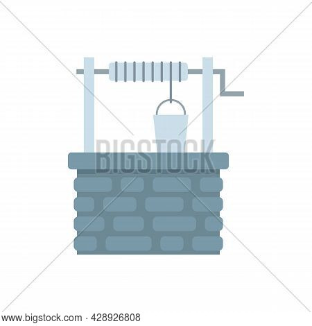 Old Stone Water Well Icon. Flat Illustration Of Old Stone Water Well Vector Icon Isolated On White B