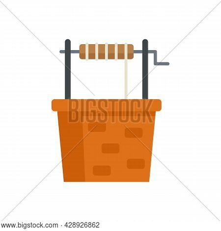 Ancient Water Well Icon. Flat Illustration Of Ancient Water Well Vector Icon Isolated On White Backg