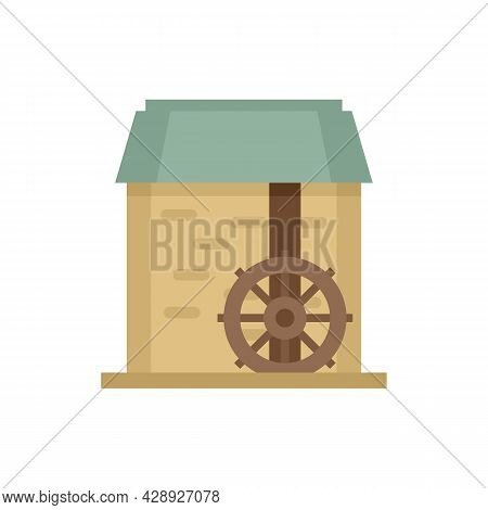Water Mill Wheel Icon. Flat Illustration Of Water Mill Wheel Vector Icon Isolated On White Backgroun