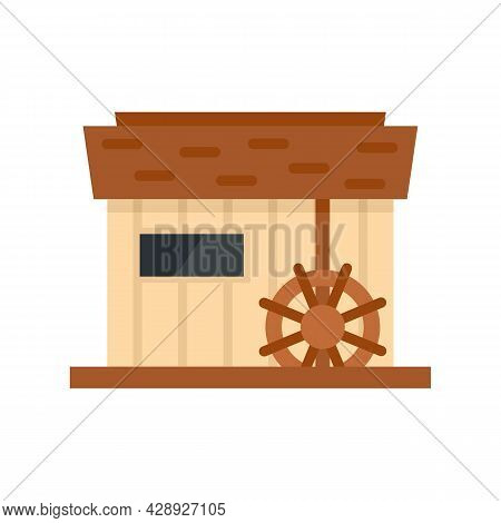 Farm Water Mill Icon. Flat Illustration Of Farm Water Mill Vector Icon Isolated On White Background