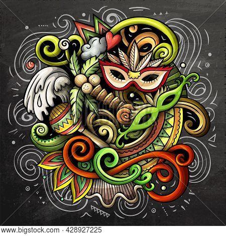 Brazil Cartoon Vector Doodle Chalkboard Illustration