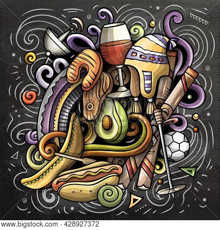 Chile Cartoon Vector Doodle Chalkboard Illustration