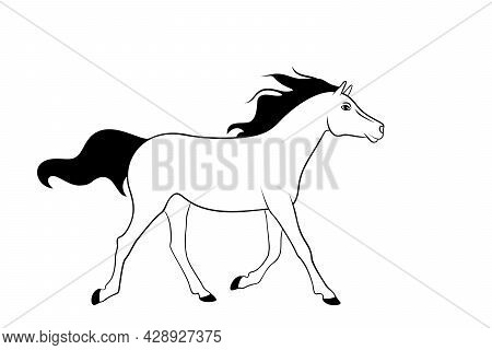 Cute Running Horse Is On A White Background. Illustration For Coloring Book.