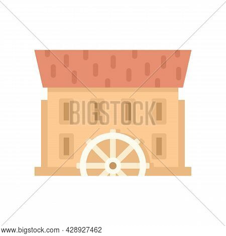 River Water Mill Icon. Flat Illustration Of River Water Mill Vector Icon Isolated On White Backgroun